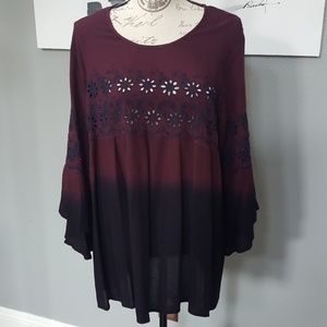Women's Two Tone Top has Bell Sleeves